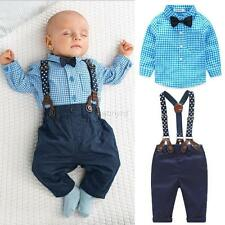 Toddler Baby Boy Tie Plaid T-shirt Top+Bib Pants Overalls 2PC Set Outfit Clothes