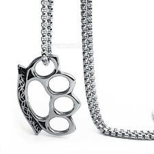 Mens Boys Knuckle Duster Silver Stainless Steel Pendant Chain with Box Necklace