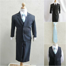 Black teen toddler boy formal suit light/sky blue long tie wedding party