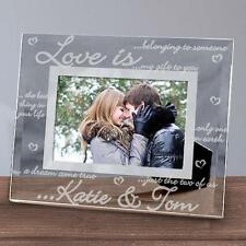 Personalized Love is Glass Picture Frame Engraved Valentines Love Photo Frame