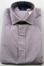 Polo Ralph Lauren Burgundy Blue Stripe Regent Custom Dress Shirt NWT