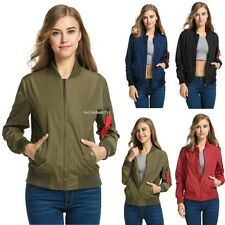 Women Solid Shoulder red ribbon Biker Slim Jacket Zip Up Bomber New Jacket B20E