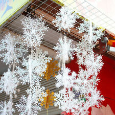 15/30Pcs Snowflake Xmas Hangings Ornaments Christmas Festival Party Home Decor