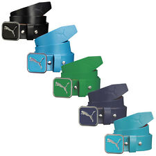 Puma Golf Mens Square Fitted Belt 908173 Leather Strap Cat Logo Buckle