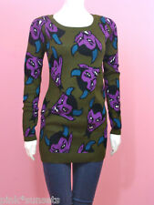 BETSEY JOHNSON Green Red Hot Devil Tunic Sweater dress