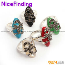 Fashion Women Jewelry Gemstone Rings Marquise Beads Tibetan Silver Plated Gifts