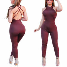 Sexy Rompers Women Jumpsuits Backless Bodysuit Bodycon Clubwear Playsuit Solid