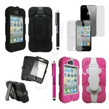 Rugged Heavy Duty Hard Case Cover Comb Belt Clip Holster Stand for iPhone 4 4S
