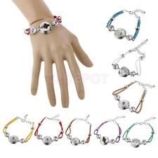 Lady Jewelry Hand Rope Weaving Alloy Button DIY Bangle Bracelet for Noosa