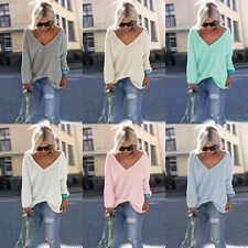 New Women Casual V Neck Long Sleeve Knitted Pullover Loose Sweater Tops Knitwear