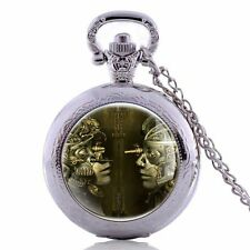 Pendant Steampunk Robot Pocket Watch Necklace Retro Vintage Quartz Gift Chain