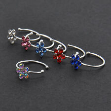 Lovely Charm Crystal Stainless Steel Small Flower Stud Hoop Nose Ring Jewelry