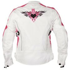 New Black & Pink Embroidered, Vented Textile Motorcycle biker scooter Jacket XL