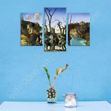 Synthetic CANVAS  Salvador Dali Swans Reflecting Elephants 3 Panels wall art
