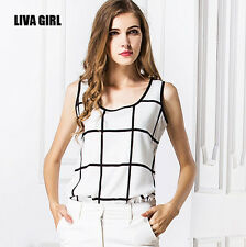 Women New Fashion Black&White Casual Chiffon Sleeveless Vest Tops T-Shirt Blouse