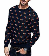 Mens Pure Cotton Long Sleeve Round Neck Printing Sweater Pullover M  L  XL  2XL