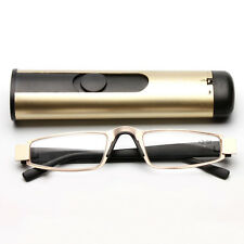 New Men Temple Half Rimless Reading Glasses Reader Enlarger with BOX