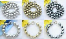 X0066 14mm round SOUTH SEA SHELL PEARL NECKLACE  BRACELET