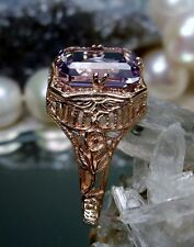 2.3ct Purple Amethyst 10k Rose Gold Floral Filigree Ring Size: {Made To Order}