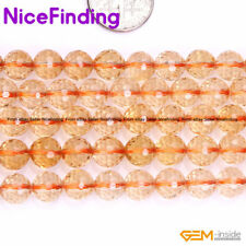 8, 10mm Round Faceted Citrine Crystal Quartz Stone Beads For Jewelry Making 15''