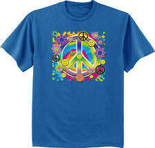 Men's t-shirt peace sign flower child hippie smiley face tee shirt for men blue