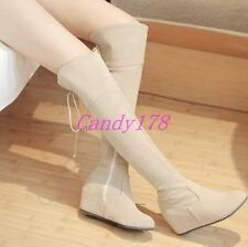 Womens Faux Suede Hidden Wedge Over The Knee High Boots Casual Shoes Plus Size