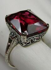10ct *Red Ruby*  Sterling Silver 925 Victorian Filigree Ring Size: Made To Order