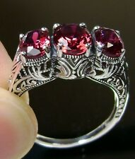 *Ruby* Solid Sterling Silver Filigree Edwardian Reproduction Ring Size Any/MTO
