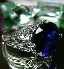 7ct Round *Blue Sapphire* Solid Sterling Silver Deco Filigree Ring Size Any/MTO