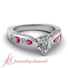 1.50 Ct Pear Shaped Diamond & Round Pink Sapphire Engagement Ring 14K Gold GIA