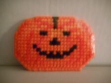 Handcrafted Plastic Canvas Needlepoint Happy Halloween & Jack-o-Lantern Magnets