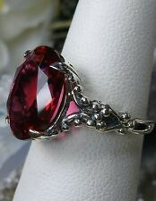 6ct Oval*Red Ruby* Sterling Silver Gothic Claw Filigree Ring Size: Made To Order