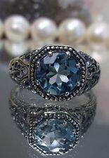 Sky Blue Topaz Sterling Silver Victorian Filigree Ring Size: {Made To Order}