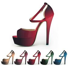 Womens Sexy Double Color Sandals Peep Toe Buckle Strap High Heeled Pumps 14 cm