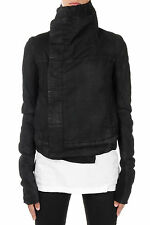 RICK OWENS DRKSHDW New Woman Black cotton BIKER Jacket Made in Italy