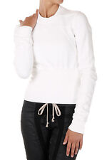 RICK OWENS DRKSHDW New Woman white cotton CROPPED GEO Sweatshirt Made Italy
