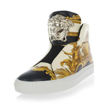 VERSACE New Woman Gold Black Sneakers Leather pull on Shoes Made Italy NWT