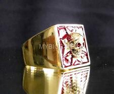 BRONZE SIGNET SKULL RING MALTESE ORDER CROSS KNIGHT MEDIEVAL DARK RED ANY SIZE