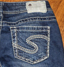Authentic Silver Women's Blue Capri Cropped Jeans Sz SANTORINI W25 , SUKI W28
