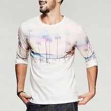 Mens T-Shirt  Long Sleeve Round Neck Printing Fitted Basic Tee White M L XL XXL