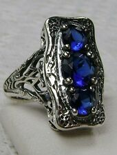 *Sapphire*Sterling Silver Edwardian/Victorian Revival Filigree Ring Size Any/MTO