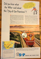 1951 SOUTHERN PACIFIC LINES TRAIN AD***UNION CARBIDE STEELMAKING*Magazine Ad