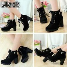 Women's Girl's High Top Heeled Lace Up Buckle Ankle Boots Winter Casual Shoes LG