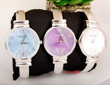 Elegant Woman Girl Lady Butterfly dail casual Steel Bangle Watch gift USDW41
