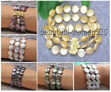 X0008 3row 8inch 14mm nature coin freshwater PEARL bracelet