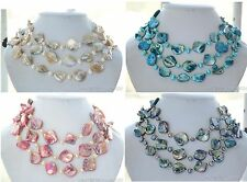 X0398 square south sea shell rice freshwater pearl necklace 50inch
