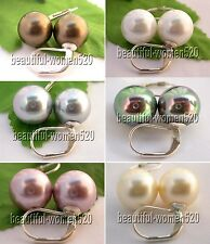 X0136 stunning 12mm round seashell pearl earring Sterling Silver hook