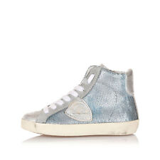 PHILIP MODEL Kids Blue High CLASSIC Sneakers Shoes with Sequins Made in Italy