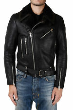 DISEL BLACK GOLD New Men Black Leather Biker Jacket Made in Italy NWT