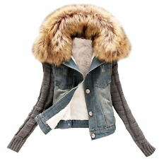Stylish Winter Warm Womens Denim Trench Coat Outerwear Faux Fur Collar Jacket